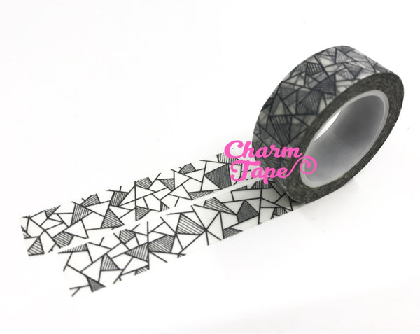 Black & White geometrical triangles Washi tape 15mm x 10m WT474 - CharmTape - 2