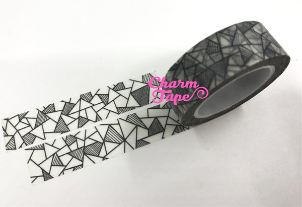 Black & White geometrical triangles Washi tape 15mm x 10m WT474 - CharmTape - 3