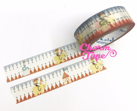 Circus Elephant Washi tape 15mm x 10meters by Shinzi Katoh WT721 - CharmTape - 1