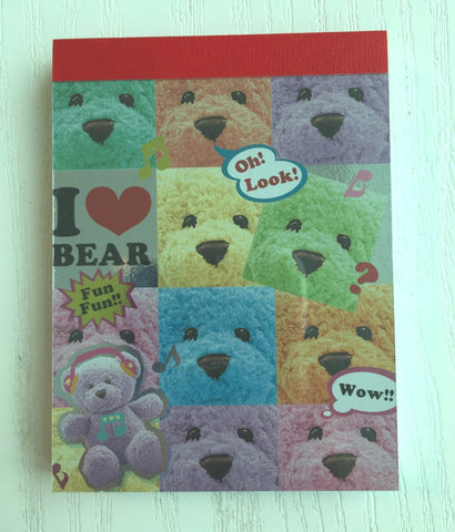 I heart Bear mini Memo Pad by Kamio from Japan - CharmTape - 1