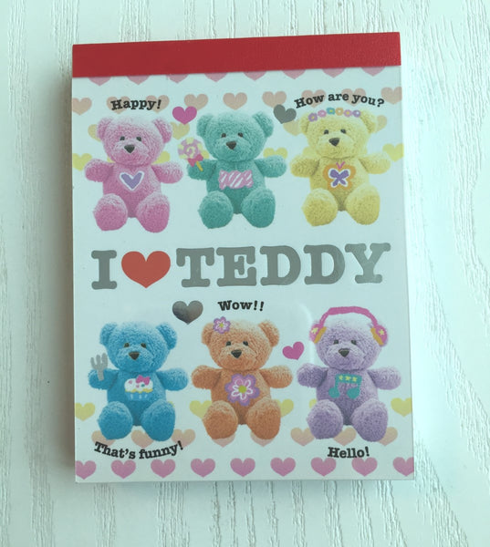 I Love Teddy mini Memo Pad by Kamio from Japan - CharmTape - 1
