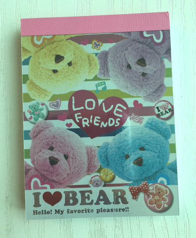 I Love Bear mini Memo Pad by Kamio from Japan - CharmTape - 1