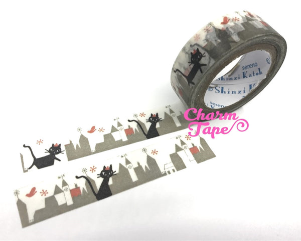 Black cat in city washi tape - 10 meters WT802 Shinzi Katoh - CharmTape - 4