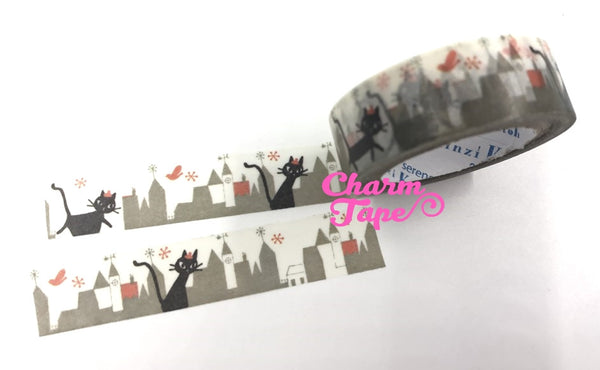 Black cat in city washi tape - 10 meters WT802 Shinzi Katoh