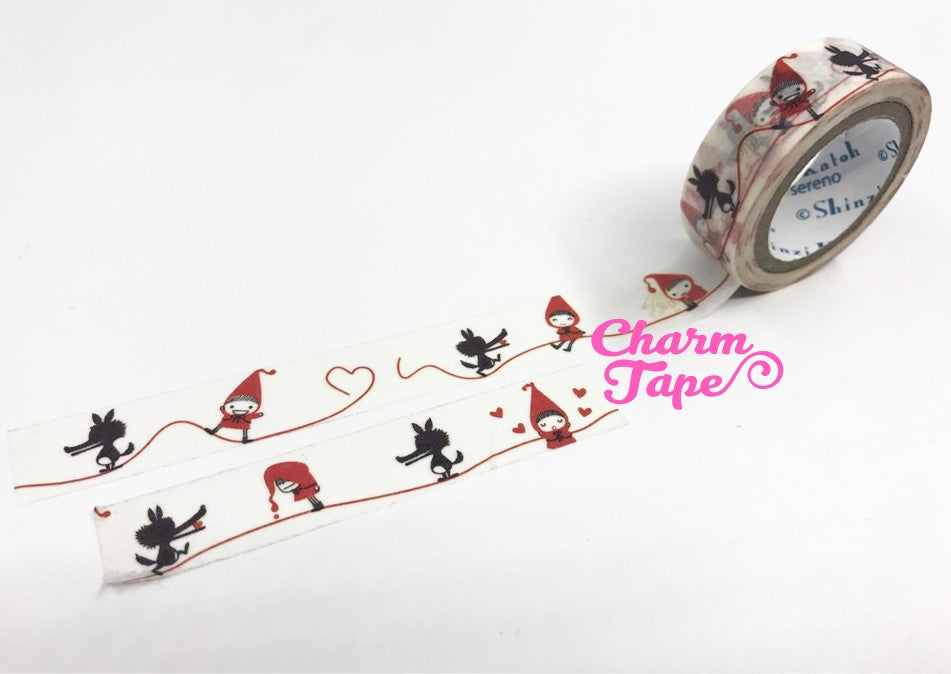 Red Riding Hood Washi Tape 15mm 10 meters WT826 Shinzi Katoh - CharmTape - 1
