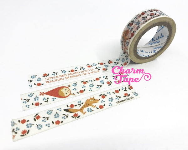 Little Red Riding Hood Washi Tape 15mm Wide - 10 meters by Shinzi Katoh WT716 - CharmTape - 2