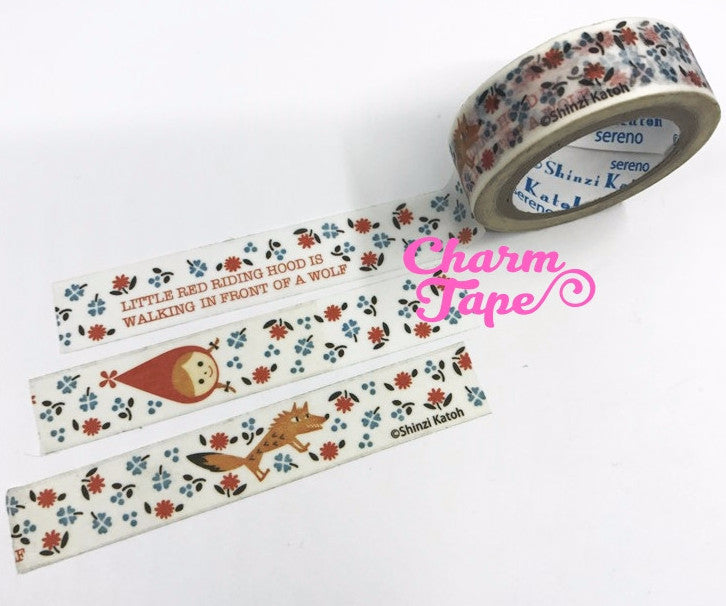 Little Red Riding Hood Washi Tape 15mm Wide - 10 meters by Shinzi Katoh WT716 - CharmTape - 1