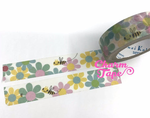 Bee & Flower washi tape - 10 meters WT822 Shinzi Katoh - CharmTape - 1