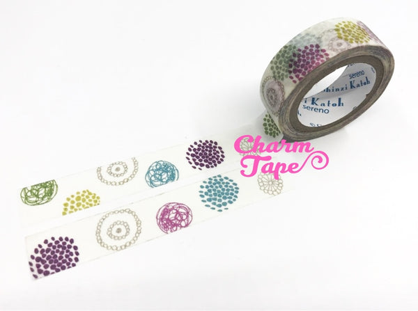 Round pattern washi tape - 10 meters WT823 Shinzi Katoh - CharmTape - 2