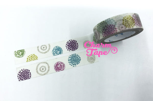 Round pattern washi tape - 10 meters WT823 Shinzi Katoh - CharmTape - 3