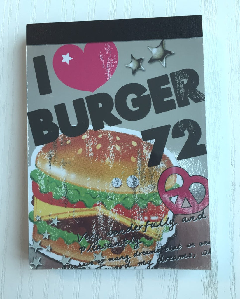 I Love Burger mini Memo Pad by Crux from Japan - CharmTape - 1