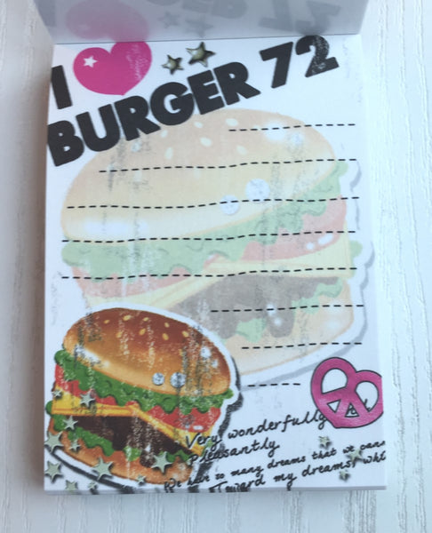 I Love Burger mini Memo Pad by Crux from Japan - CharmTape - 2