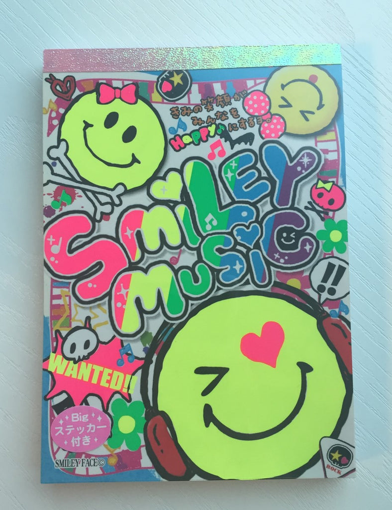 Smiley Face Music Big Memo Pad by Kamio from Japan - CharmTape - 1