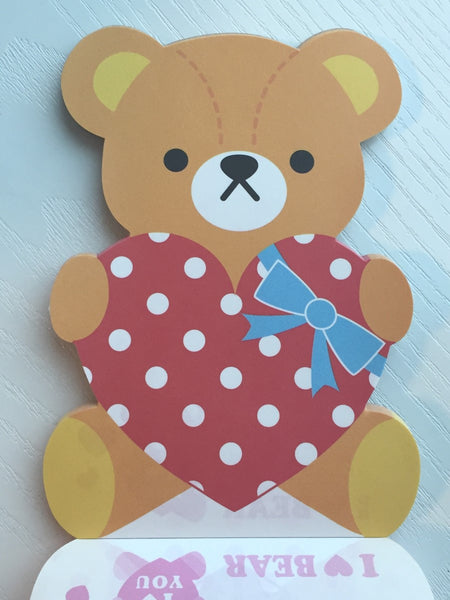 I Heart Bear Big Memo Pad by Kamio from Japan - CharmTape - 4
