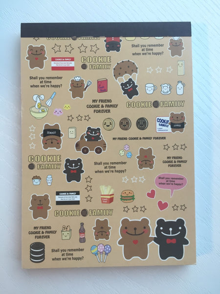 Cookie Family Big Memo Pad by Daiso from Japan - CharmTape - 1
