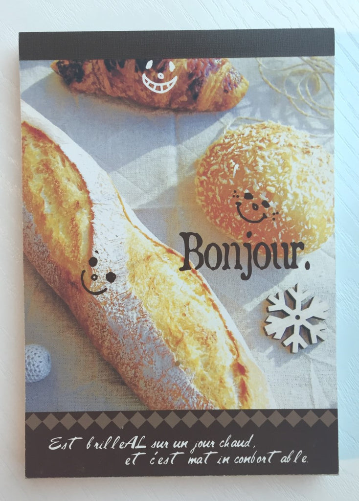 Bonjour French Bread Big Memo Pad by Daiso from Japan - CharmTape - 1