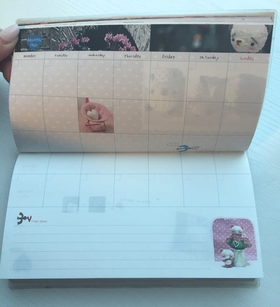 Couple Teddy Bear Daily Planner Scheduler - Undated Journal - CharmTape - 6