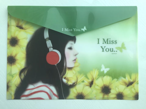Pinkfoot Pretty Girl A4 plastic folder envelope - I Miss You - CharmTape - 1