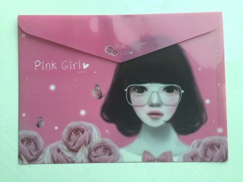 Pinkfoot Pretty Girl A4 plastic folder envelope - Pink Girl - CharmTape - 1