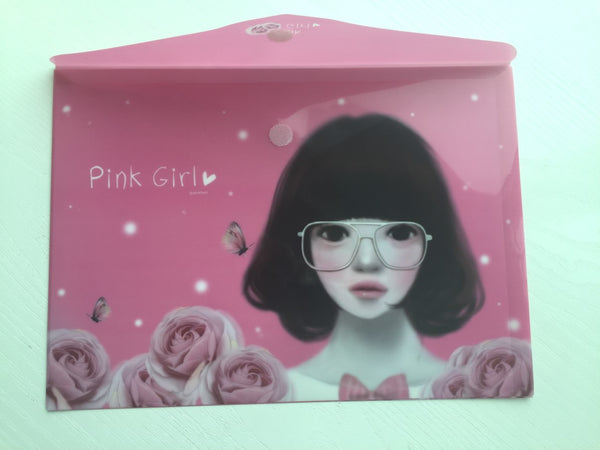 Pinkfoot Pretty Girl A4 plastic folder envelope - Pink Girl - CharmTape - 3