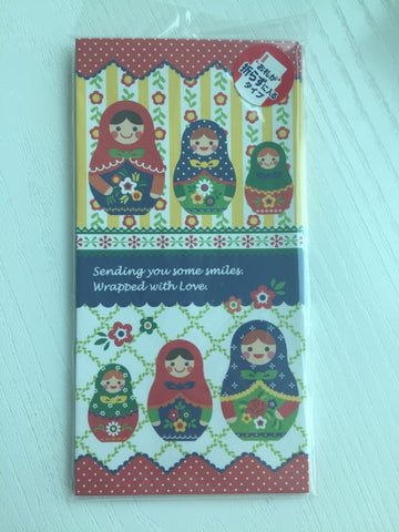 Envelopes set - Colorful Matryoshka doll from Japan - CharmTape - 1