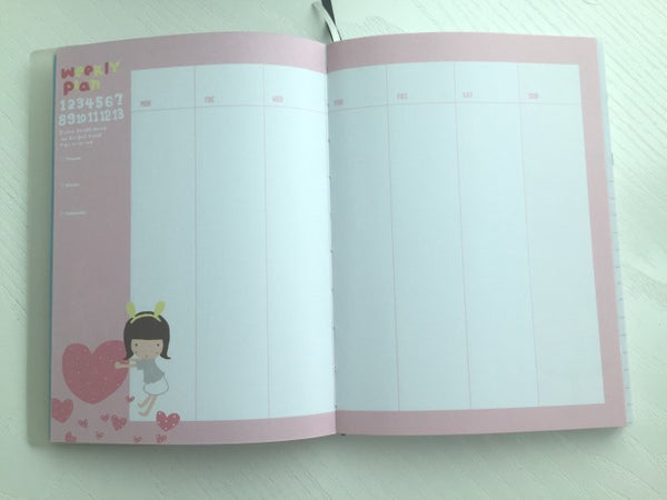 Girl Daily Planner Scheduler - in Black - CharmTape - 5