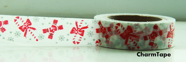 Christmas Cane & Crackers Washi Tape 15mm x 10 meters WT100 - CharmTape - 2