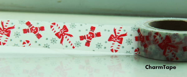 Christmas Cane & Crackers Washi Tape 15mm x 10 meters WT100 - CharmTape - 3