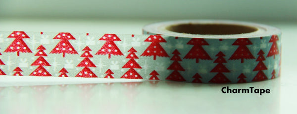 Red Christmas Trees on Blue Washi Tape 15mm x 10 meters WT99 - CharmTape - 2