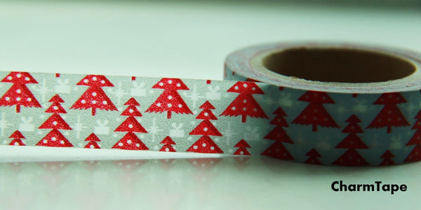 Red Christmas Trees on Blue Washi Tape 15mm x 10 meters WT99 - CharmTape - 3