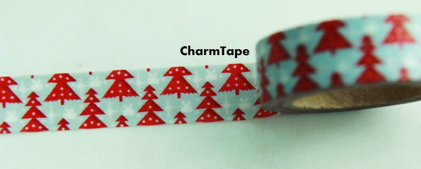 Red Christmas Trees on Blue Washi Tape 15mm x 10 meters WT99 - CharmTape - 4