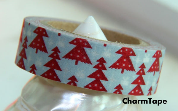 Red Christmas Trees on Blue Washi Tape 15mm x 10 meters WT99 - CharmTape - 1