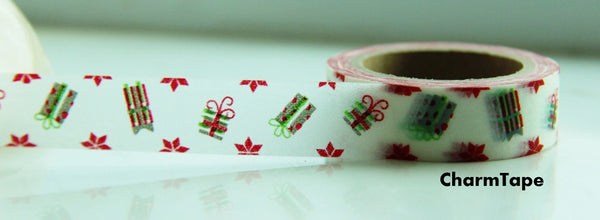 Festive Present Gift washi Paper Tape 15mm x 10 meters WT101 - CharmTape - 2