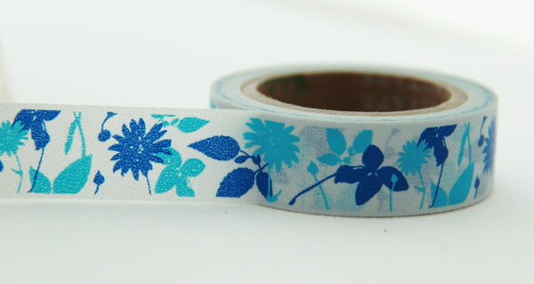 Washi Tape - Flowers & Leaf on Grey 15mm x 10m WT139 - CharmTape - 2