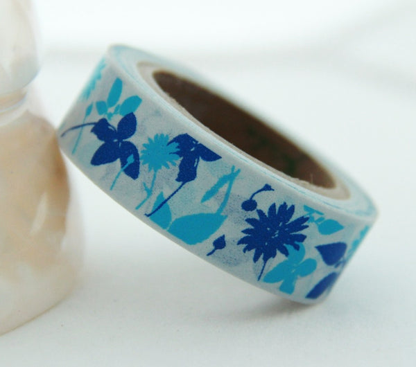 Washi Tape - Flowers & Leaf on Grey 15mm x 10m WT139 - CharmTape - 3