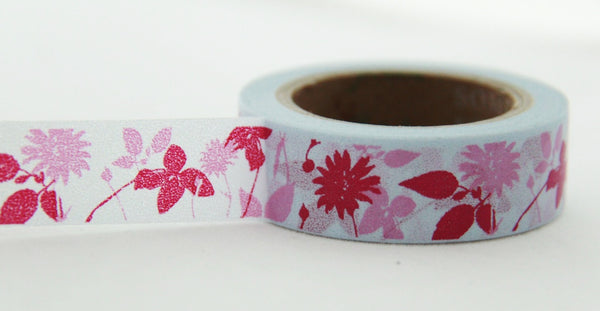 Washi Tape - Flowers & Leaf on Grey 15mm x 10m WT139 - CharmTape - 4