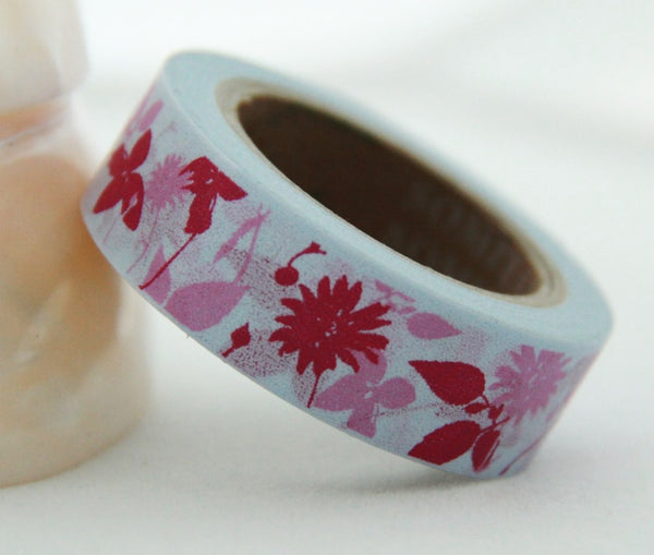 Washi Tape - Flowers & Leaf on Grey 15mm x 10m WT139 - CharmTape - 5