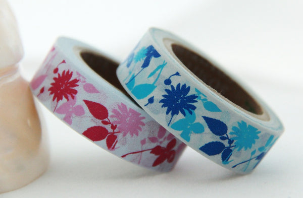Washi Tape - Flowers & Leaf on Grey 15mm x 10m WT139 - CharmTape - 1