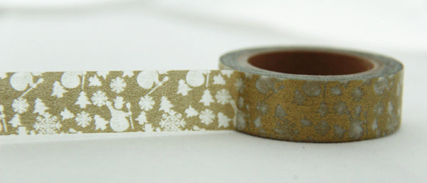 Snowman & Christmas Tree on Gold Washi Tape 11yards WT143
