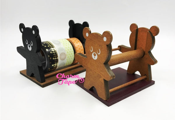 Bear Washi Tape Wood Case / Masking Tape Organizer / Tape Holder - Black or Natural