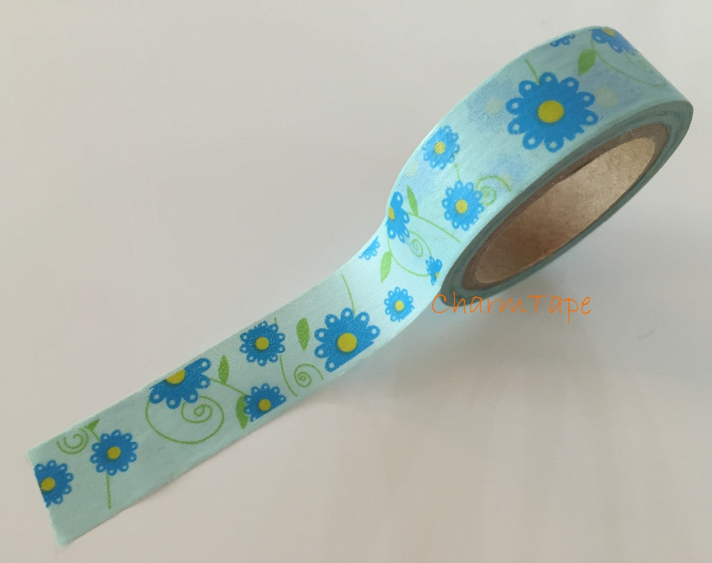 Blue Daisy Flower Washi Masking Tape Full Roll 15mm WT271 - CharmTape - 1