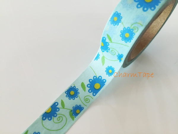 Blue Daisy Flower Washi Masking Tape Full Roll 15mm WT271 - CharmTape - 2