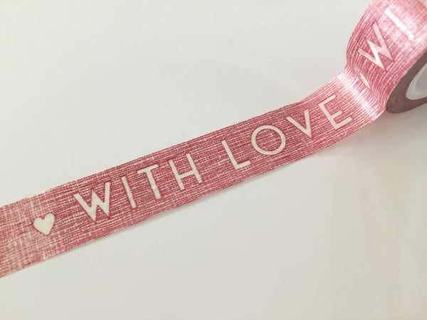 Red Washi tape - With Love 15mm x 10meters WT710