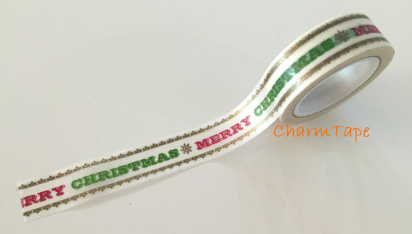 50% off Sale Merry Christmas Washi tape 15mm x 10 meters WT732 - CharmTape - 2