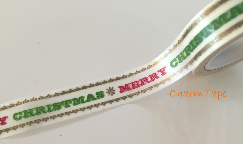 50% off Sale Merry Christmas Washi tape 15mm x 10 meters WT732 - CharmTape - 1
