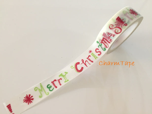Festive Washi tape Merry Christmas 10 meters 15mm WT733 - CharmTape - 1