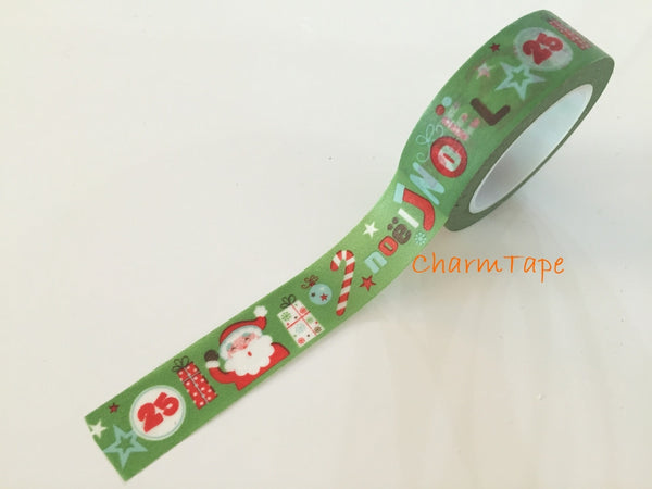 Santa Claus Festive Washi tape 15mm 10 meters WT736 - CharmTape - 1