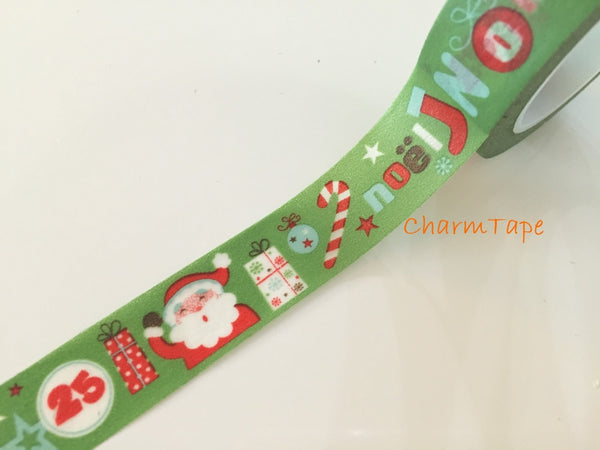 Santa Claus Festive Washi tape 15mm 10 meters WT736 - CharmTape - 2