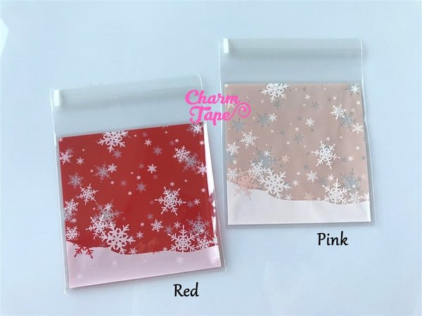 Festive Snowflake Gift Bags Cello Bags Self-adhesive Cookie bags - Favors Bags - Party bags 20/50/100 bags CB52