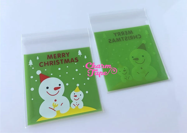Festive Snowman Gift Bags Cello Bags Self-adhesive Cookie bags - Favors Bags - Party bags 20/50/100 bags CB55